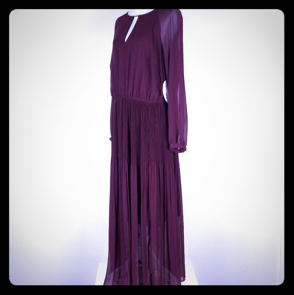 20bd9fb9f1f Sz 1 X Wine Maroon Long Sleeve Dress Modest Pleats. NWT. jcpenney